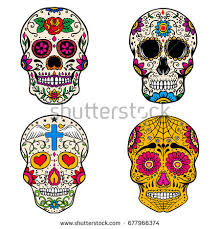 Day Of The Dead White Set Sugar Skulls Isolated On White Stock Vector 677966374