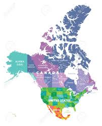 combined map of usa and canada colored map of usa canada and mexico royalty free cliparts