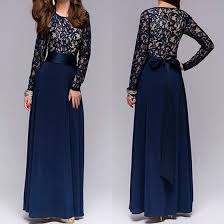 maxi dress blue patchwork lace neck party polyester maxi dress