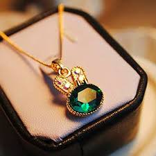 crystal necklace gold chain images 2017 new fashion women necklace gold chain green lovely rabbit jpg