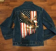 American Flag Jeans Men U0027s Vintage Levi U0027s Jean Jacket All American Eagle With Flag