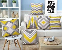 aliexpress com buy drop ship geometric cushion cover yellow grey