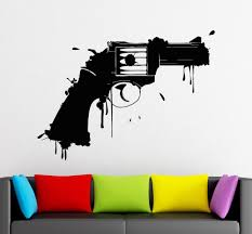 vinyl wall decals gun firearm weapon art design wall mural sticker vinyl wall decals gun firearm weapon art design wall mural sticker home room cool fashion decor