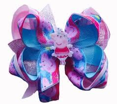 peppa pig ribbon hair bow peppa pig print pink turquoise shimmer ribbon with