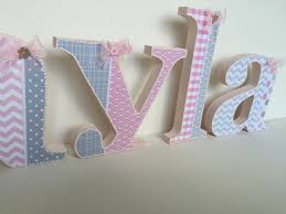 Decorating Wooden Letters For Nursery Shabby Chic Pink Grey White Decorated Wooden Letters Baby