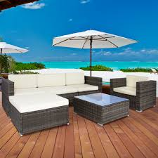 Pool And Patio Decor Costway Outdoor Patio Sofa Furniture Round Retractable Canopy