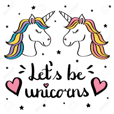 let s be unicorns hand writing text with pair of unicorn drawing