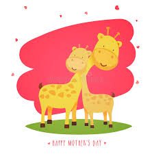 s day giraffe giraffe with baby giraffe for s day stock