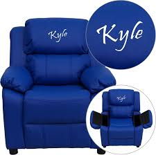 Youth Recliner Chairs Personalized Deluxe Padded Blue Vinyl Kids Recliner With Storage