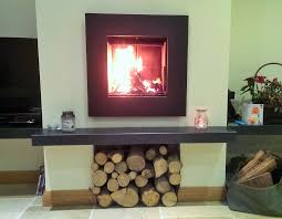 suspended granite shelf hearth for a wall mounted log burner