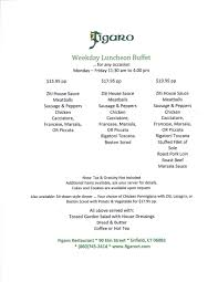 menu u2013 figaro italian restaurant