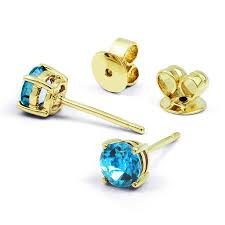 blue topaz earrings yellow gold solitaire blue topaz earrings diamond boutique