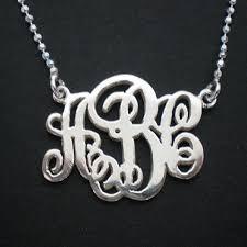 Silver Monogram Necklace Silver Monogram Necklace Personalized Initial Wedding Logo