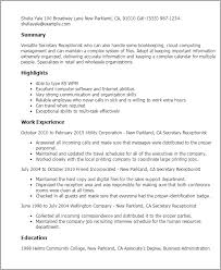Secretary Resume Template Professional Secretary Receptionist Templates To Showcase Your