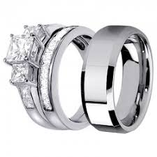 his and hers engagement rings sets his hers lovely 3pcs tungsten s matching band sterling