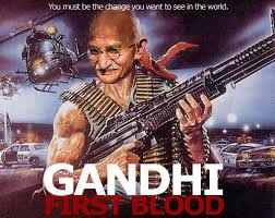 Rambo Meme - spoof of the poster for rambo first blood nuclear gandhi