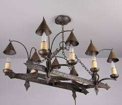 Gothic Chandelier Wrought Iron Neo Gothic Forged Iron Chandelier Ref D311 French Antiques