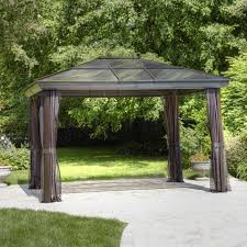 Gazebo Curtain Ideas by Exterior Design Black Aluminum Hardtop Gazebo With White Curtains