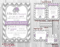 elephant with gray chevron baby shower invitation purple