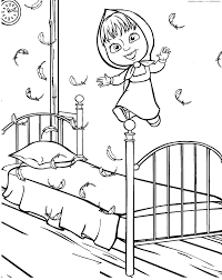 masha jumping on the bed u0026 raquo coloring for kids print free