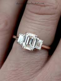 three emerald cut engagement rings emerald cut 3 engagement ring in white gold