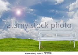 background beautiful bench blue bright bush chair clear clouds
