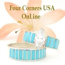 Turquoise Wedding Rings by Light Turquoise Inlay Wedding Ring Sets Navajo Wedding Rings