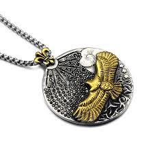 titanium mens jewelry necklace images Hip punk vintage mens eagle necklace gold titanium stainless steel jpg