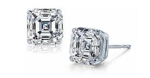 cubic zirconia stud earrings sterling silver cz asscher cut stud earrings