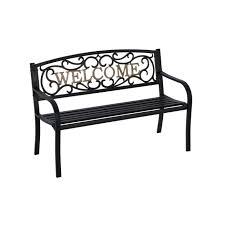 iron park benches amazon com living accents park bench welcome 50 5 w x 23 5 d x