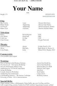 beginner resume template free acting resume template exle actor beginner actors exles