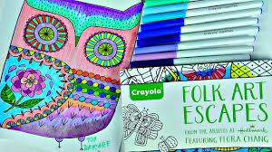crayola folk art escape coloring book so relaxing youtube