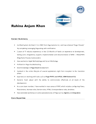 Two Years Experience Resume Sample by Pega Sample Resume
