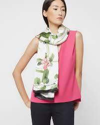 ted baker arorra secret trellis silk square scarf in white lyst
