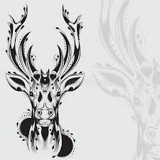 tribal deer head tattoo stock vector image of drawing 30493929
