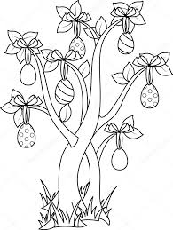 easter tree coloring page u2014 stock vector malyaka 67407123