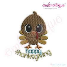 embroitique happy thanksgiving turkey fill stitch embroidery design