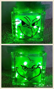 Grinch Lighted Glass Block Reversible with two different Grinch