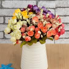 Rose Home Decor Online Shop Colorful Silk Flowers Artificial Flower 15 Heads Mini
