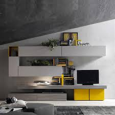 Wall Tv Cabinet Design Italian Modern Italian Tv Media Unit Yellow Grey By Santa Lucia L 360 H