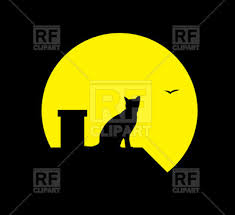 silhouette of cat and moon on black background royalty free vector