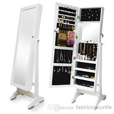 Wooden Jewelry Armoire Jewelry Armoire Organizer Storage Wall Or Door Mount Mirrored