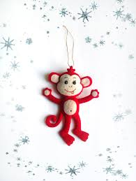ornaments monkey christmas tree decorations handmade felt plush