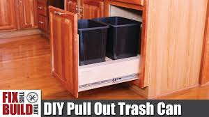 How To Make Pull Out Drawers In Kitchen Cabinets Diy Pull Out Trash Can In A Kitchen Cabinet How To Youtube