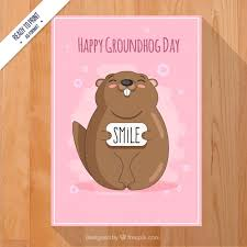 groundhog day cards pink groundhog day card vector free