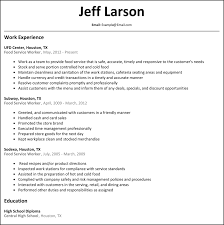 Food Service Worker Job Description Resume by Admin Resumesamples