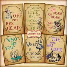 alice in wonderland quotes decoration party printable digital