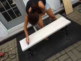 Whitewash Bench Industrial Bench How To Build A Wooden Bench With Pipe Legs