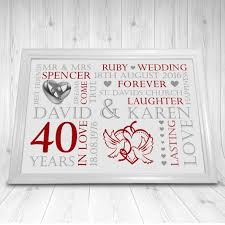 40 year wedding anniversary gift personalised ruby 40th wedding anniversary gift print a4 soph