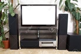 tv home theater home theater with plasma tv and hi fi acustics stock photo